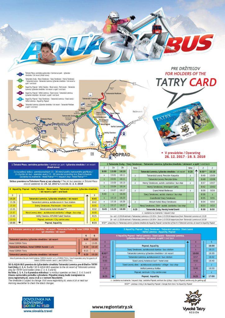 SKI & AQUA BUS, SKI BUS, SKIBUS, Vysoke Tatry, cestovný poriadok